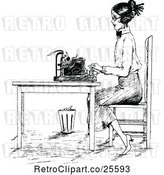 Vector Clip Art of Retro Lady Typing at a Desk by Prawny Vintage