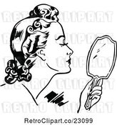 Vector Clip Art of Retro Lady Using a Hand Mirror by Prawny Vintage