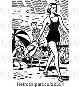 Vector Clip Art of Retro Lady Walking on a Beach by BestVector
