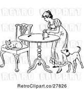 Vector Clip Art of Retro Lady with a Mouse Cat and Dog by Prawny Vintage