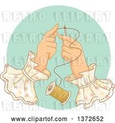 Vector Clip Art of Retro Lady's Hands Threading a Needle by BNP Design Studio