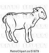 Vector Clip Art of Retro Lamb in Profile by AtStockIllustration
