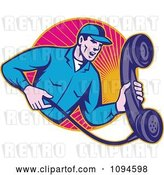 Vector Clip Art of Retro Landline Repair Guy Holding a Phone over Rays by Patrimonio