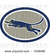 Vector Clip Art of Retro Leaping Panther in an Oval by Patrimonio