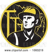 Vector Clip Art of Retro Linesman with Electric Poles and Lightning by Patrimonio