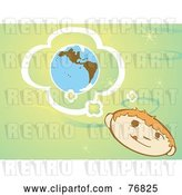 Vector Clip Art of Retro Little Boy Pondering About the Earth, on a Green Background by Xunantunich