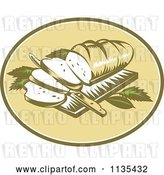 Vector Clip Art of Retro Loaf of Breadon a Cutting Board with a Knife by Patrimonio