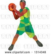 Vector Clip Art of Retro Low Poly Black Male Basketball Player Holding the Ball by Patrimonio