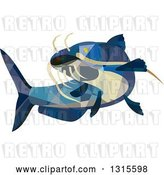 Vector Clip Art of Retro Low Poly Geometric Blue Catfish Swimming by Patrimonio