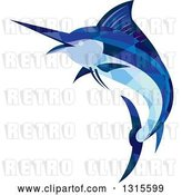 Vector Clip Art of Retro Low Poly Geometric Blue Marlin Fish Jumping and Facing Left by Patrimonio