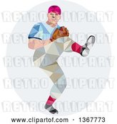 Vector Clip Art of Retro Low Poly Geometric Male Baseball Player Pitching in an Oval by Patrimonio