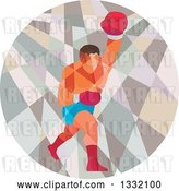 Vector Clip Art of Retro Low Poly Geometric Male Boxer Punching in a Circle by Patrimonio