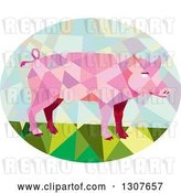 Vector Clip Art of Retro Low Poly Geometric Pink Pig in an Oval by Patrimonio