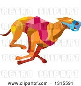 Vector Clip Art of Retro Low Poly Geometric Racing Greyhound Dog by Patrimonio