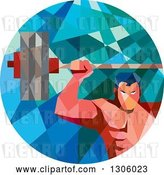 Vector Clip Art of Retro Low Poly Geometric White Bodybuilder Lifting a Barbell over His Head in a Circle by Patrimonio
