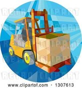 Vector Clip Art of Retro Low Poly Geometric Worker Operating a Forklift and Moving a Crate in a Circle by Patrimonio