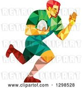 Vector Clip Art of Retro Low Poly Rugby Player Running by Patrimonio