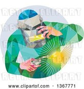 Vector Clip Art of Retro Low Poly Welder in a Circle by Patrimonio