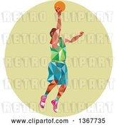 Vector Clip Art of Retro Low Poly White Male Basketball Player Doing a Layup in a Green Oval by Patrimonio
