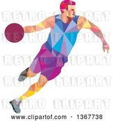 Vector Clip Art of Retro Low Poly White Male Basketball Player Dribbling by Patrimonio