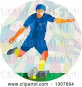 Vector Clip Art of Retro Low Poly White Male Rugby Player Kicking in a Circle by Patrimonio