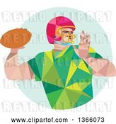 Vector Clip Art of Retro Low Polygon Style American Football Player Throwing over a Pastel Green Circle by Patrimonio