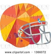 Vector Clip Art of Retro Low Polygon Styled American Football Helmet by Patrimonio