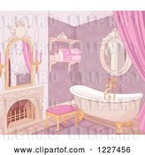 Vector Clip Art of Retro Luxurious Pink Castle Bathroom by Pushkin