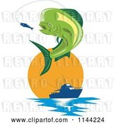 Vector Clip Art of Retro Mahi Mahi Dolphin Fish Jumping to Bite a Lure with a Boat at Sunset by Patrimonio