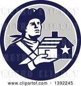 Vector Clip Art of Retro Male American Patriot Soldier Holding a Home in a Blue White and Gray Circle by Patrimonio