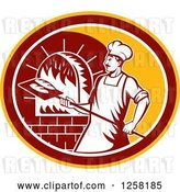 Vector Clip Art of Retro Male Baker Cooking Bread in a Wood Fired Brick Oven in a Yellow Maroon and White Oval by Patrimonio