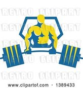 Vector Clip Art of Retro Male Bodybuilder Holding a Heavy Barbell and Emerging from a Blue and Yellow Shield by Patrimonio