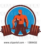 Vector Clip Art of Retro Male Bodybuilder Holding a Heavy Barbell in a Brown White and Blue Circle by Patrimonio