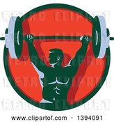 Vector Clip Art of Retro Male Bodybuilder Holding a Heavy Barbell over His Head in a Green and Red Circle by Patrimonio