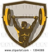 Vector Clip Art of Retro Male Bodybuilder Holding a Heavy Barbell over His Head in a Shield by Patrimonio