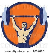 Vector Clip Art of Retro Male Bodybuilder Holding a Heavy Barbell over His Head Inside a Blue and Orange Circle by Patrimonio