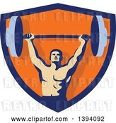 Vector Clip Art of Retro Male Bodybuilder Holding a Heavy Barbell over His Head Inside a Blue and Orange Shield by Patrimonio