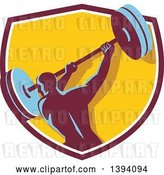 Vector Clip Art of Retro Male Bodybuilder Swinging a Barbell in a Shield by Patrimonio