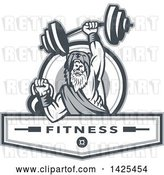 Vector Clip Art of Retro Male Champion Norse Warrior, Berserker, Wearing a Pelt of Bear Skin, Lifting a Barbell and Kettlebell, Emerging from a Circle over Fitness Next by Patrimonio