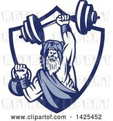 Vector Clip Art of Retro Male Champion Norse Warrior, Berserker, Wearing a Pelt of Bear Skin, Lifting a Barbell and Kettlebell, Emerging from a Shield by Patrimonio