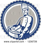 Vector Clip Art of Retro Male Chef Baker Carrying a Basket of Bread in a Circle by Patrimonio
