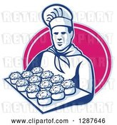 Vector Clip Art of Retro Male Chef Baker Holding a Tray of Meat Pies in a Pink Oval by Patrimonio