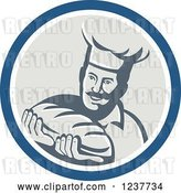 Vector Clip Art of Retro Male Chef Baker Holding Bread in a Beige and Blue Circle by Patrimonio