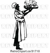 Vector Clip Art of Retro Male Chef Carrying a Platter 1 by Prawny Vintage