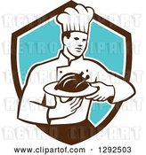 Vector Clip Art of Retro Male Chef Carrying a Roasted Chicken on a Platter in a Brown White and Blue Shield by Patrimonio