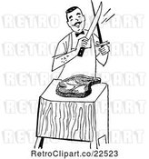 Vector Clip Art of Retro Male Chef Cutting Meat by BestVector