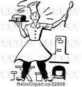 Vector Clip Art of Retro Male Chef Holding a Hot Meal by BestVector