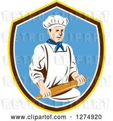 Vector Clip Art of Retro Male Chef Holding a Rolling Pin in a Yellow Brown White and Blue Shield by Patrimonio