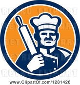 Vector Clip Art of Retro Male Chef Holding a Rolling Pin over His Shoulder in a Blue White and Orange Circle by Patrimonio