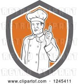 Vector Clip Art of Retro Male Chef Holding up a Finger in a Shield by Patrimonio